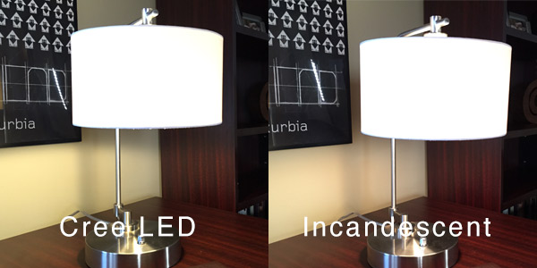 LED and Incandescent Side-by-side