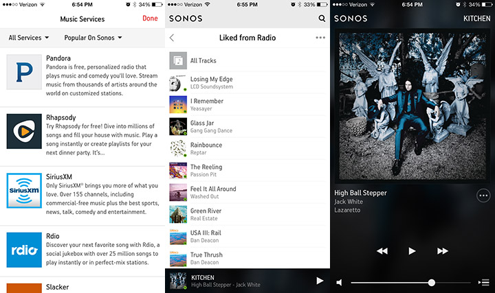 A few screens inside the Sonos app