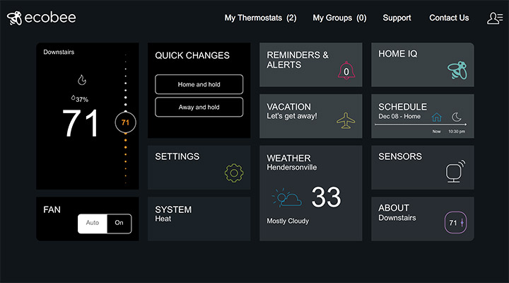 ecobee's web interface