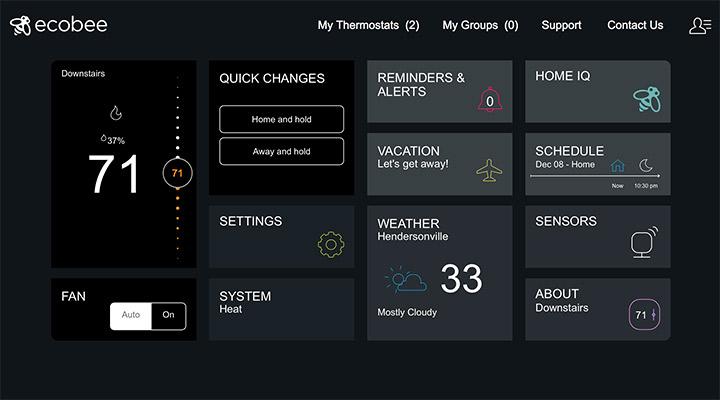 ecobee's web interface